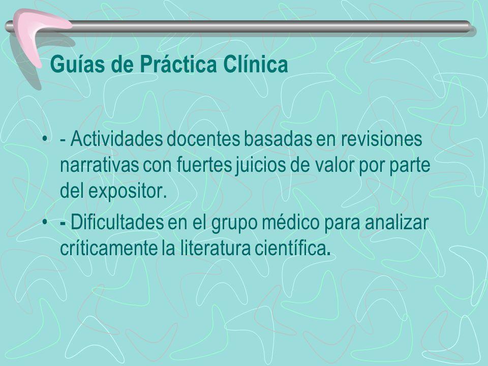 Guías de Práctica Clínica - Actividades docentes basadas en revisiones narrativas con fuertes juicios de valor por parte del expositor. - Dificultades