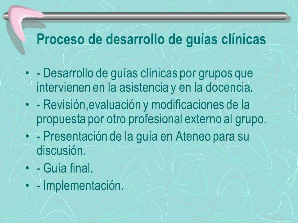 Proceso de desarrollo de guías clínicas - Desarrollo de guías clínicas por grupos que intervienen en la asistencia y en la docencia. - Revisión,evalua