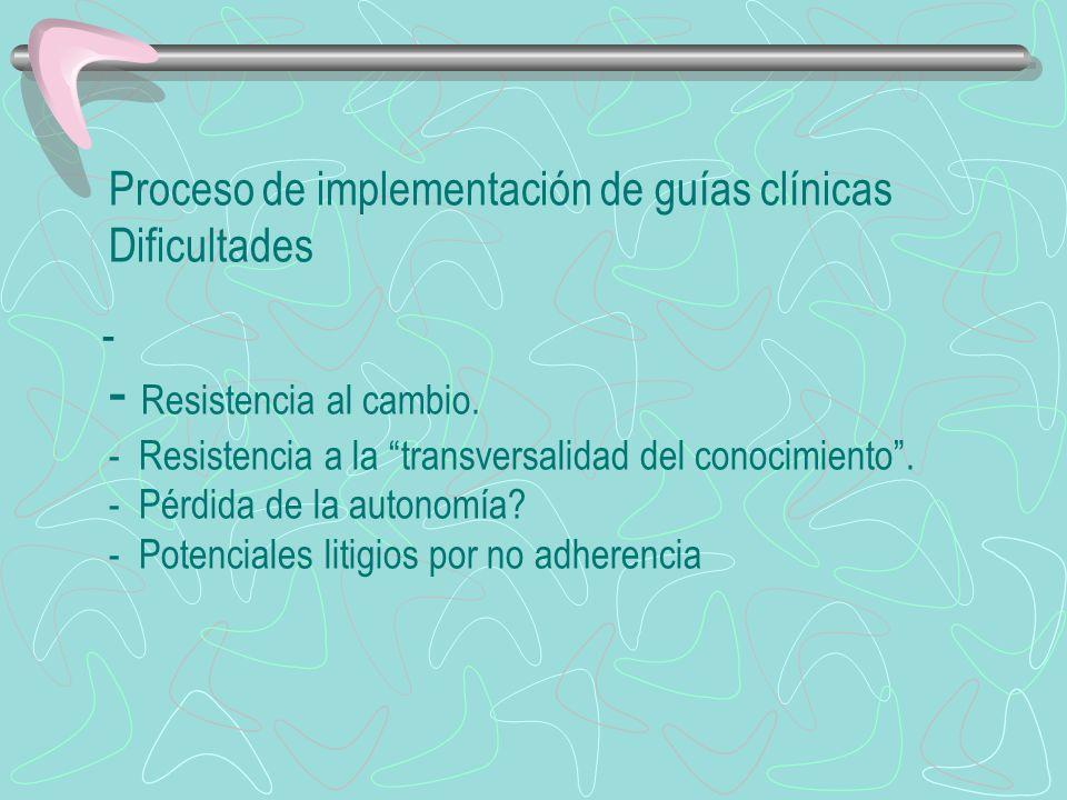 Proceso de implementación de guías clínicas Dificultades - Resistencia al cambio. - Resistencia a la transversalidad del conocimiento. - Pérdida de la