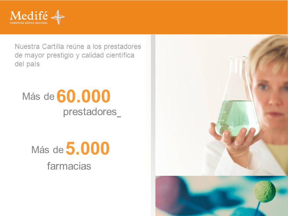 Nuestra Cartilla reúne a los prestadores de mayor prestigio y calidad científica del país Más de 60.000 prestadores Más de 5.000 farmacias