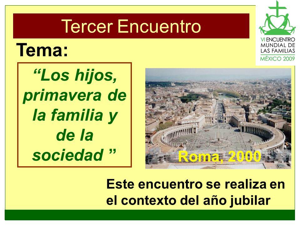 Tercer Encuentro Roma, 2000 Los hijos, primavera de la familia y de la sociedad Tema: Este encuentro se realiza en el contexto del año jubilar