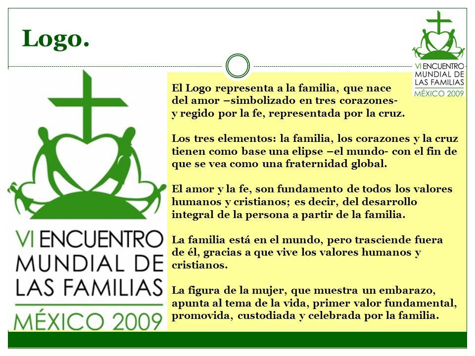 Logo. El Logo representa a la familia, que nace del amor –simbolizado en tres corazones- y regido por la fe, representada por la cruz. Los tres elemen
