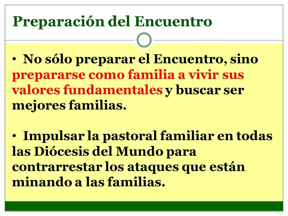 Preparación del Encuentro No sólo preparar el Encuentro, sino prepararse como familia a vivir sus valores fundamentales y buscar ser mejores familias.