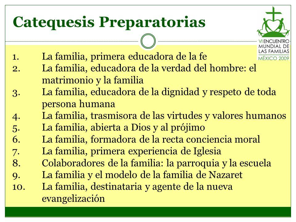 Catequesis Preparatorias 1.La familia, primera educadora de la fe 2.La familia, educadora de la verdad del hombre: el matrimonio y la familia 3.La fam