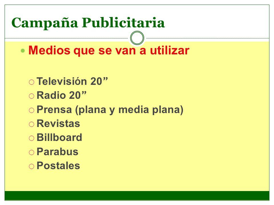 Medios que se van a utilizar Televisi ó n 20 Radio 20 Prensa (plana y media plana) Revistas Billboard Parabus Postales Campaña Publicitaria