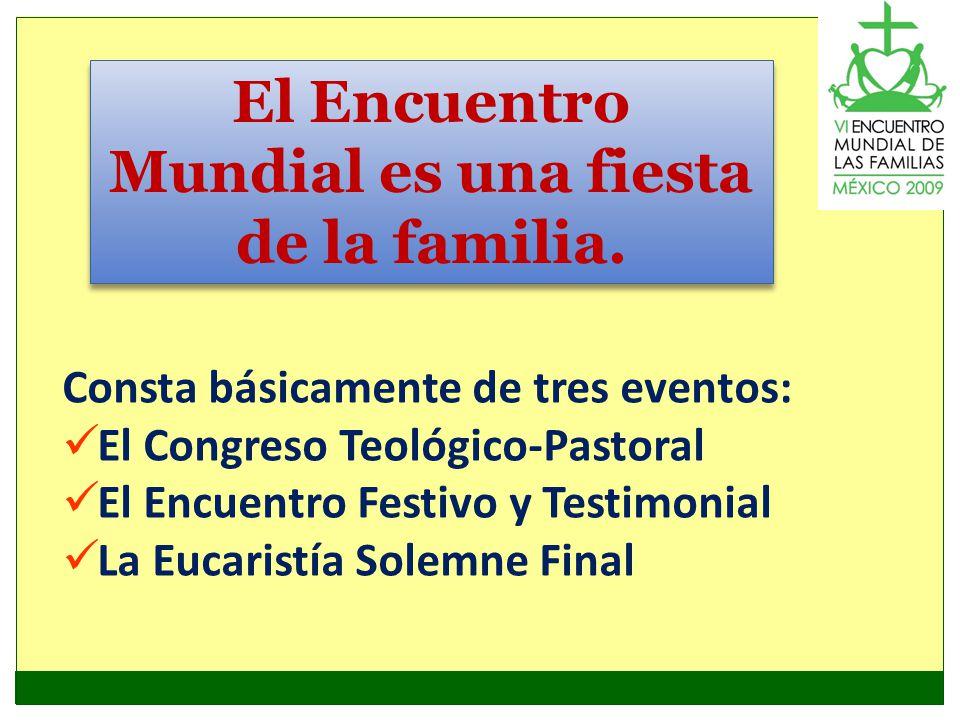 El Encuentro Mundial es una fiesta de la familia. Consta básicamente de tres eventos: El Congreso Teológico-Pastoral El Encuentro Festivo y Testimonia
