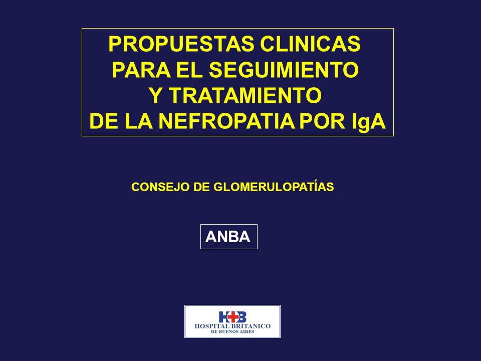 PROPUESTAS CLINICAS PARA EL SEGUIMIENTO Y TRATAMIENTO DE LA NEFROPATIA POR IgA CONSEJO DE GLOMERULOPATÍAS ANBA