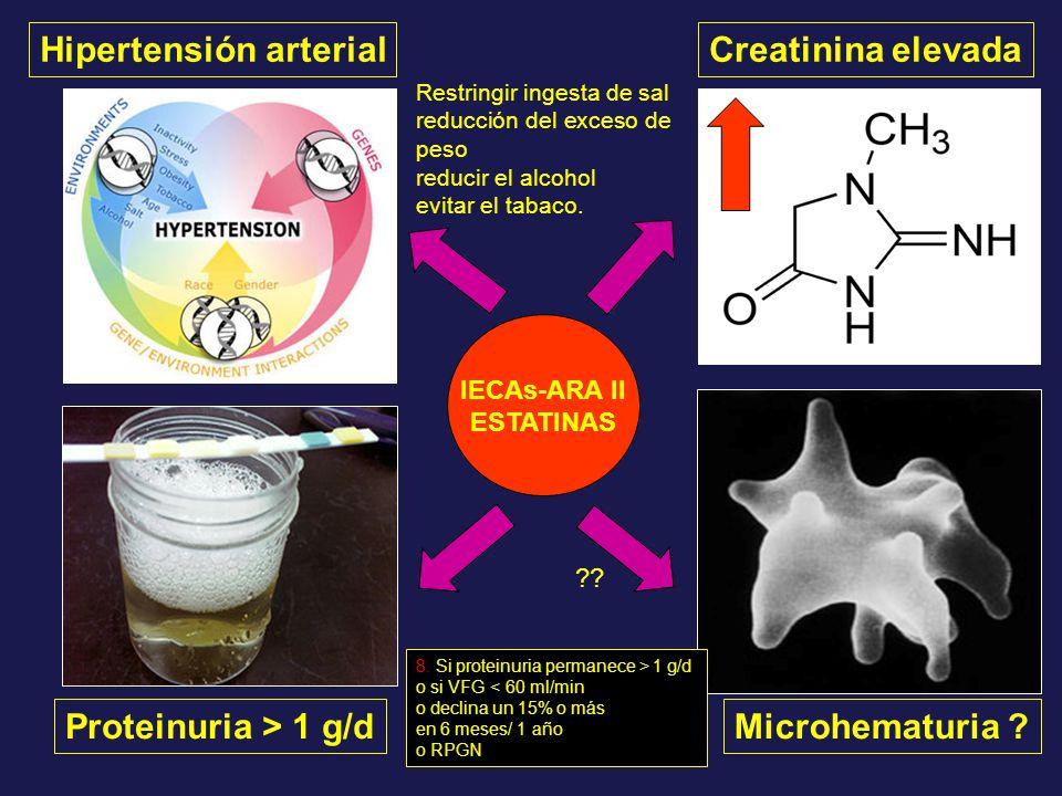 Hipertensión arterial Proteinuria > 1 g/dMicrohematuria ? Creatinina elevada IECAs-ARA II ESTATINAS ?? Restringir ingesta de sal reducción del exceso