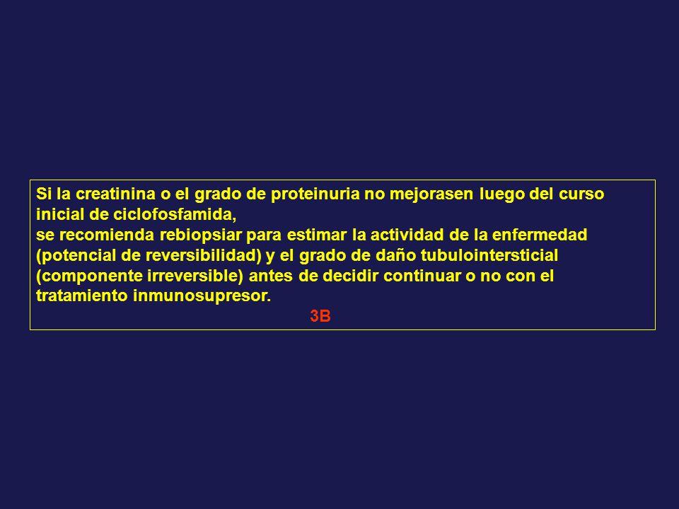 Si la creatinina o el grado de proteinuria no mejorasen luego del curso inicial de ciclofosfamida, se recomienda rebiopsiar para estimar la actividad