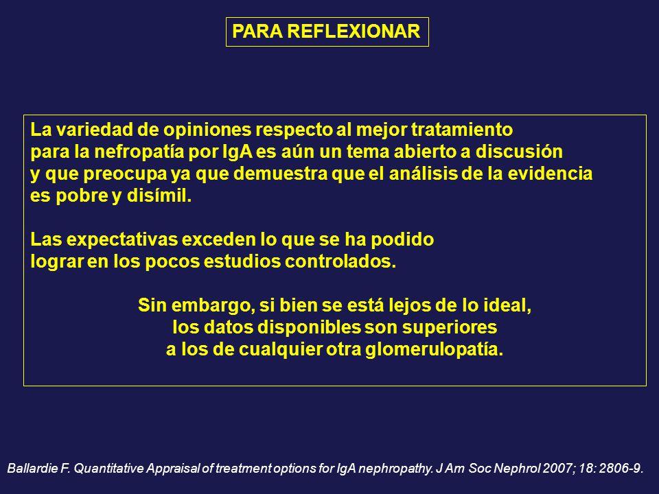 La variedad de opiniones respecto al mejor tratamiento para la nefropatía por IgA es aún un tema abierto a discusión y que preocupa ya que demuestra q
