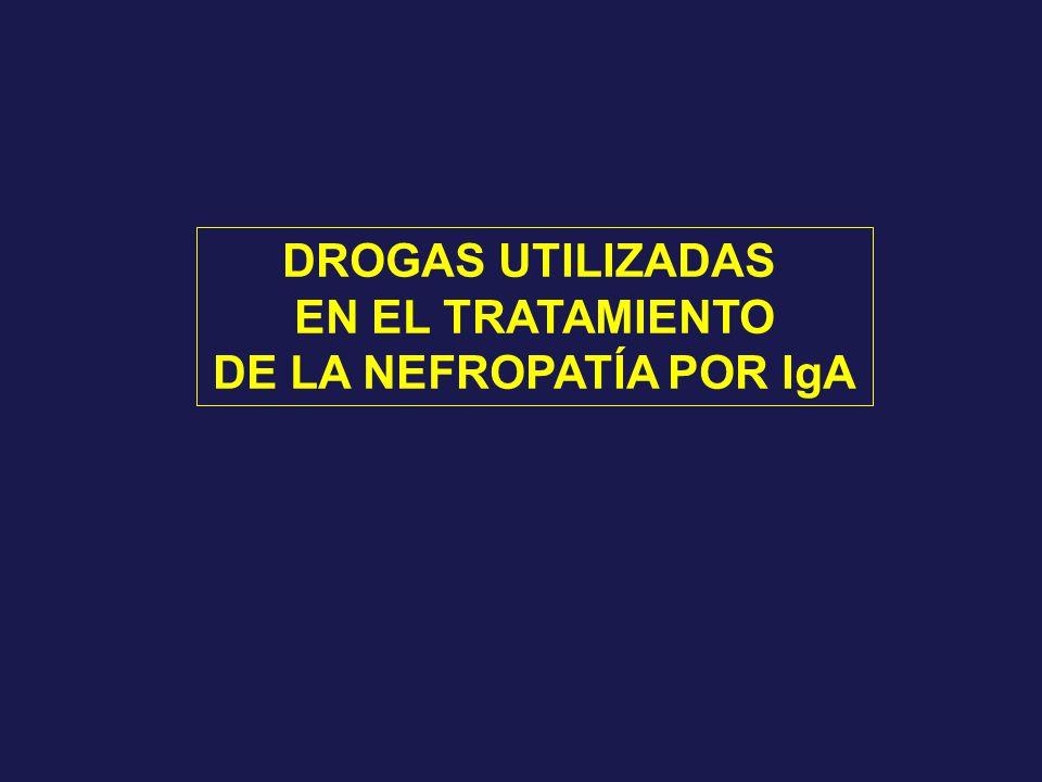 DROGAS UTILIZADAS EN EL TRATAMIENTO DE LA NEFROPATÍA POR IgA