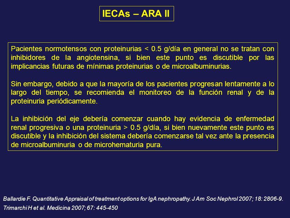 Pacientes normotensos con proteinurias < 0.5 g/día en general no se tratan con inhibidores de la angiotensina, si bien este punto es discutible por la
