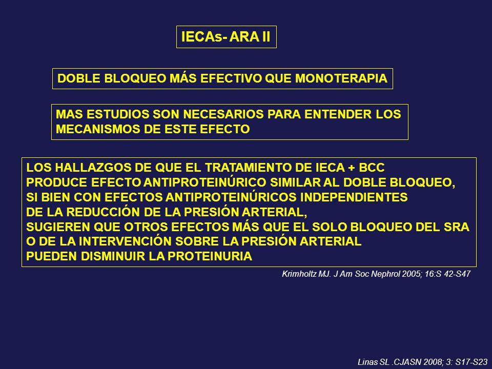 IECAs- ARA II DOBLE BLOQUEO MÁS EFECTIVO QUE MONOTERAPIA MAS ESTUDIOS SON NECESARIOS PARA ENTENDER LOS MECANISMOS DE ESTE EFECTO LOS HALLAZGOS DE QUE