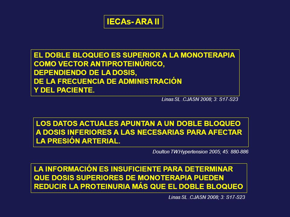 IECAs- ARA II EL DOBLE BLOQUEO ES SUPERIOR A LA MONOTERAPIA COMO VECTOR ANTIPROTEINÚRICO, DEPENDIENDO DE LA DOSIS, DE LA FRECUENCIA DE ADMINISTRACIÓN