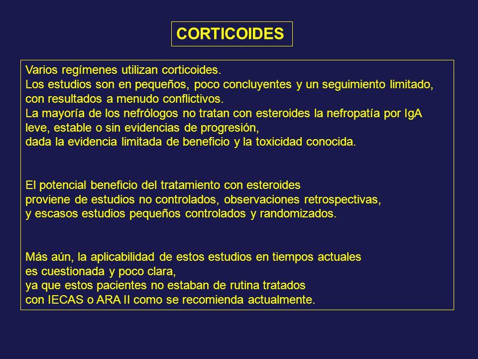 Varios regímenes utilizan corticoides. Los estudios son en pequeños, poco concluyentes y un seguimiento limitado, con resultados a menudo conflictivos