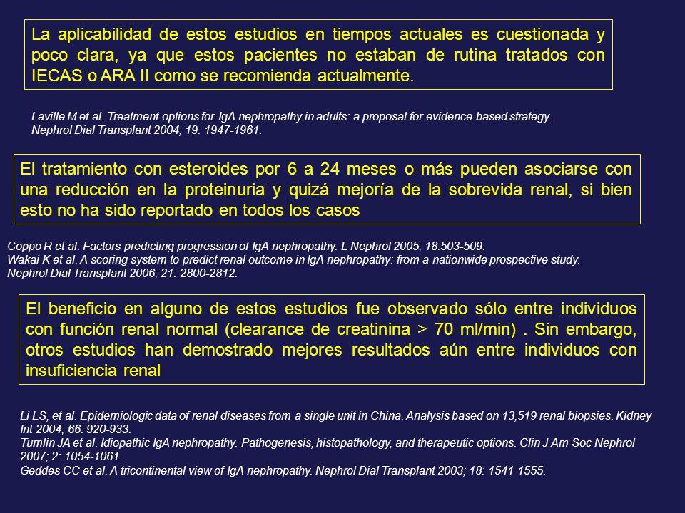 La aplicabilidad de estos estudios en tiempos actuales es cuestionada y poco clara, ya que estos pacientes no estaban de rutina tratados con IECAS o A