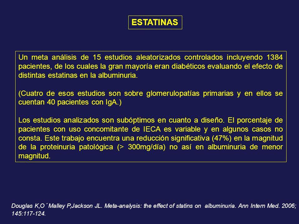 Un meta análisis de 15 estudios aleatorizados controlados incluyendo 1384 pacientes, de los cuales la gran mayoría eran diabéticos evaluando el efecto