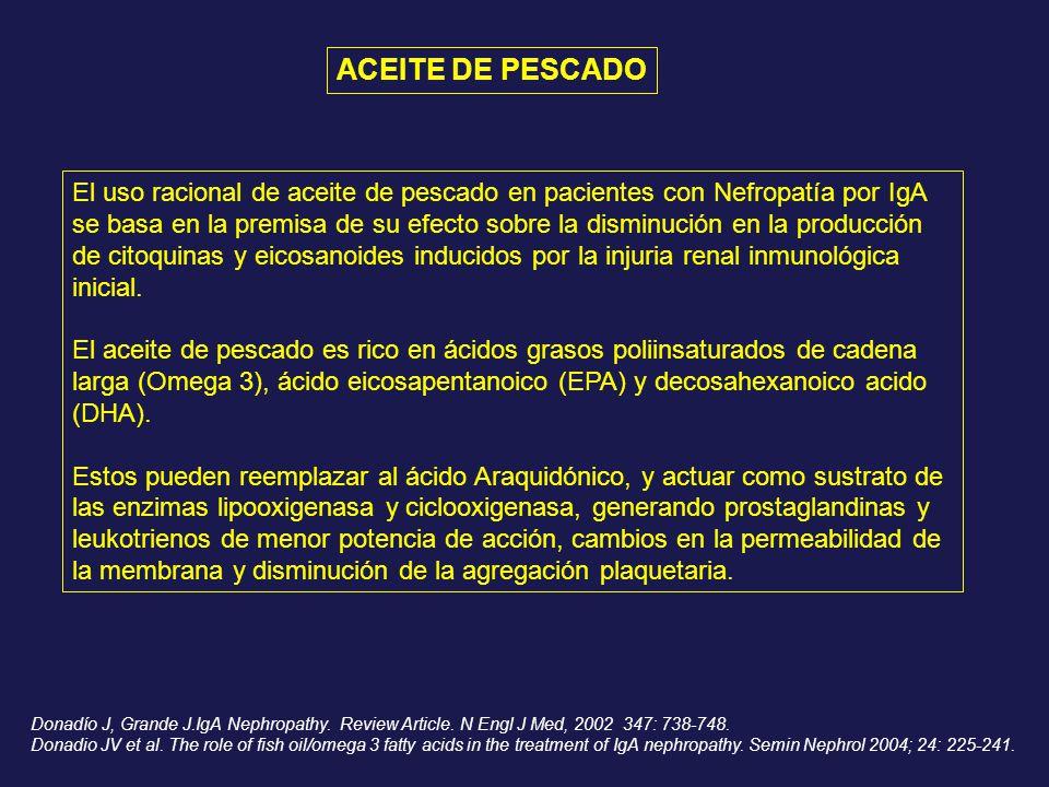 El uso racional de aceite de pescado en pacientes con Nefropatía por IgA se basa en la premisa de su efecto sobre la disminución en la producción de c