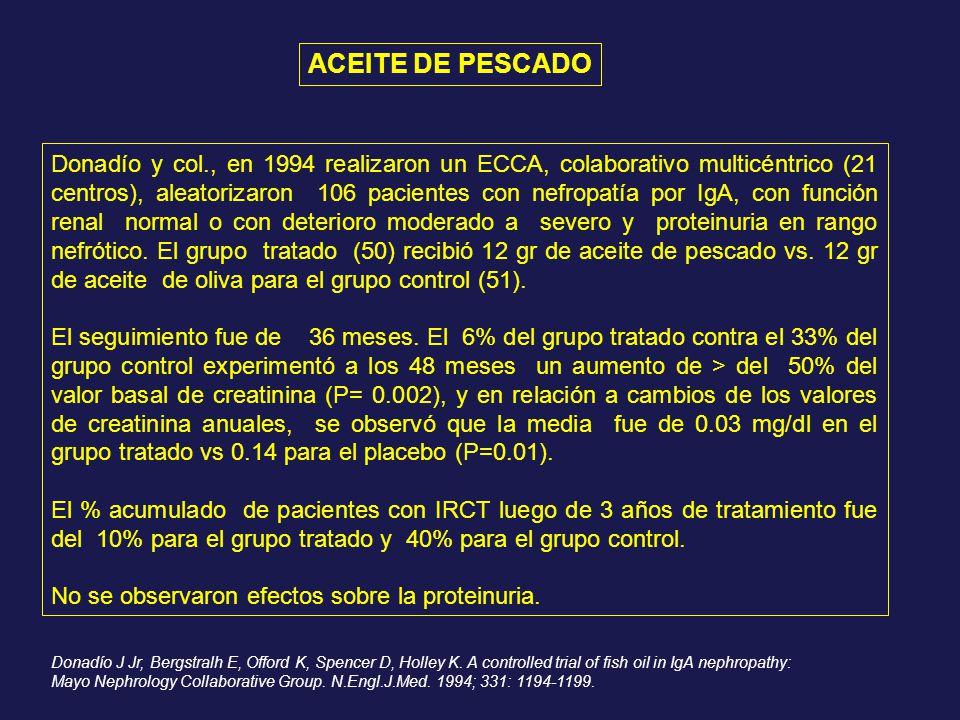 Donadío y col., en 1994 realizaron un ECCA, colaborativo multicéntrico (21 centros), aleatorizaron 106 pacientes con nefropatía por IgA, con función r