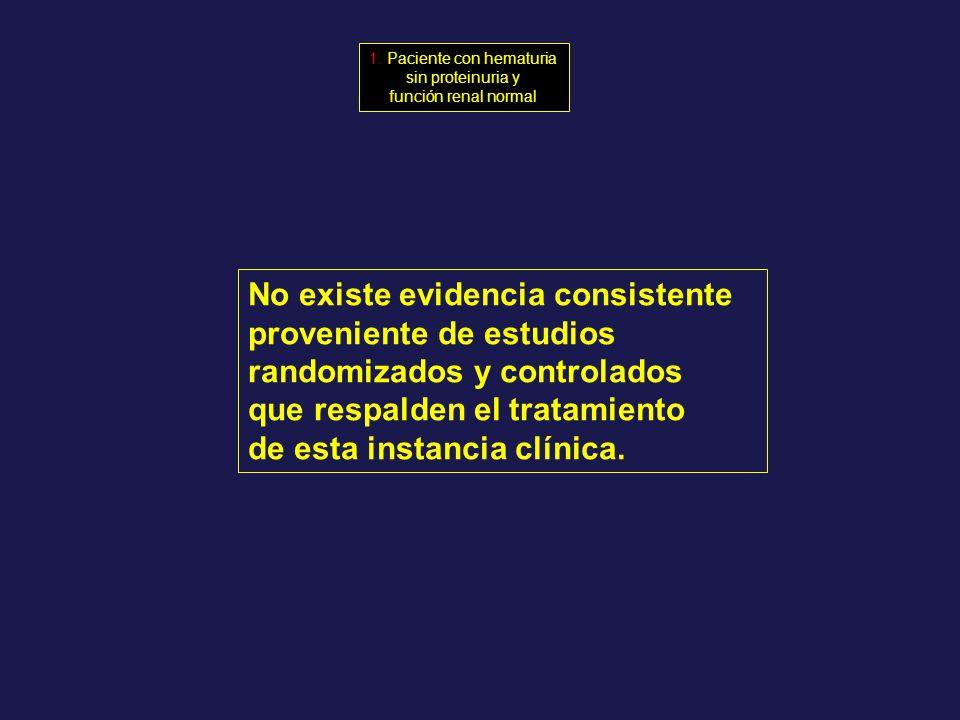 No existe evidencia consistente proveniente de estudios randomizados y controlados que respalden el tratamiento de esta instancia clínica. 1. Paciente