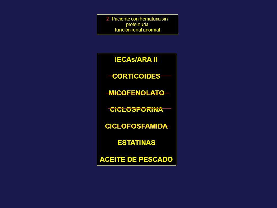 IECAs/ARA II CORTICOIDES MICOFENOLATO CICLOSPORINA CICLOFOSFAMIDA ESTATINAS ACEITE DE PESCADO 2. Paciente con hematuria sin proteinuria función renal