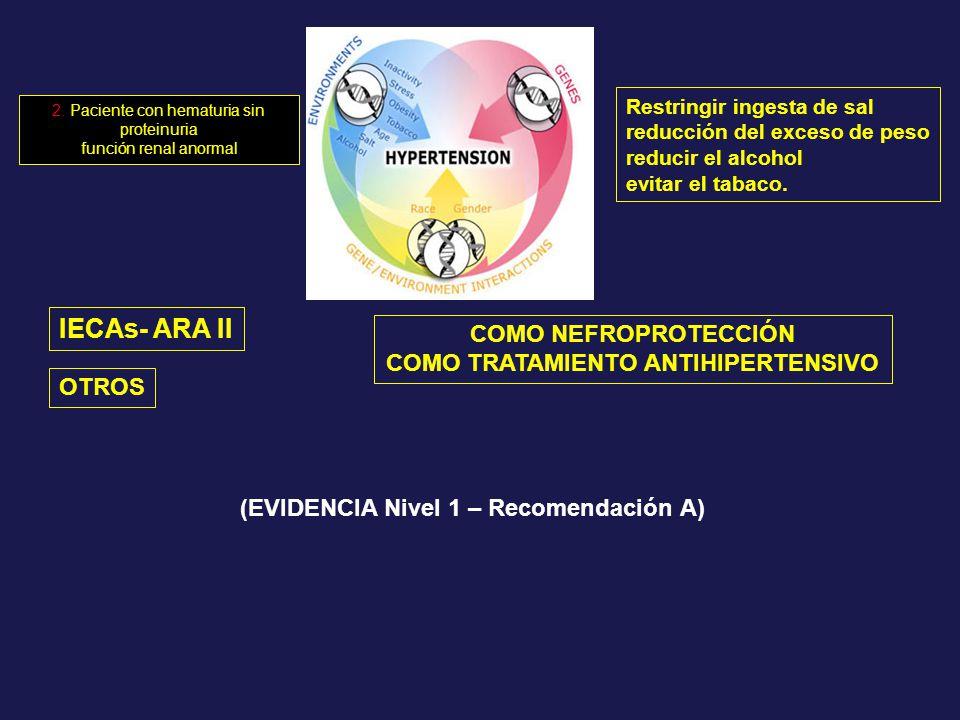 IECAs- ARA II COMO NEFROPROTECCIÓN COMO TRATAMIENTO ANTIHIPERTENSIVO OTROS (EVIDENCIA Nivel 1 – Recomendación A) Restringir ingesta de sal reducción d