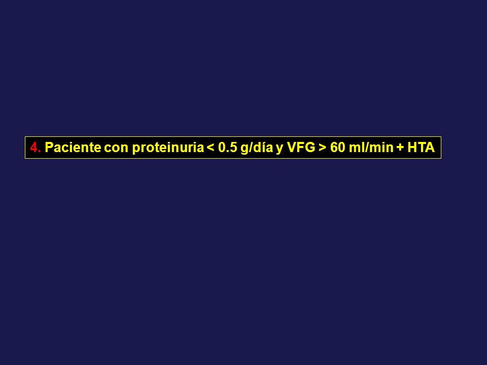 4. Paciente con proteinuria 60 ml/min + HTA