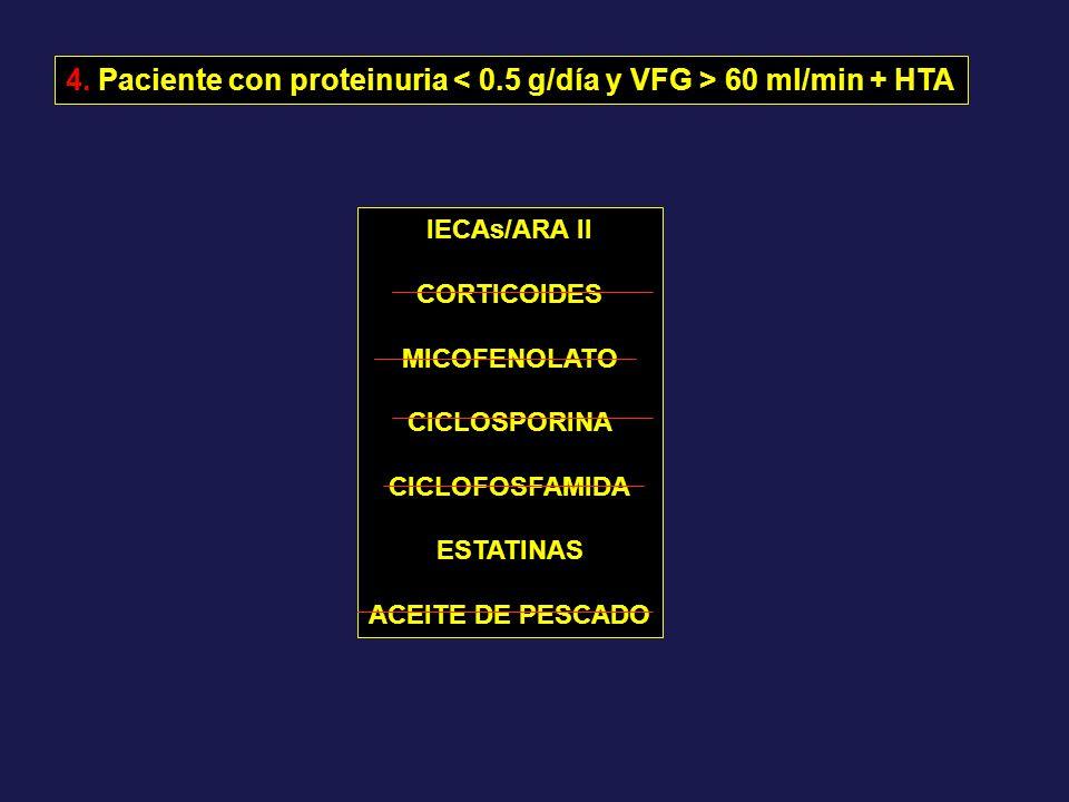 IECAs/ARA II CORTICOIDES MICOFENOLATO CICLOSPORINA CICLOFOSFAMIDA ESTATINAS ACEITE DE PESCADO 4. Paciente con proteinuria 60 ml/min + HTA
