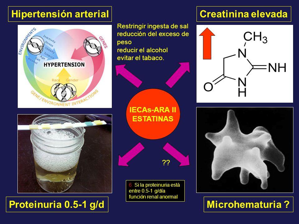 Hipertensión arterial Proteinuria 0.5-1 g/dMicrohematuria ? Creatinina elevada IECAs-ARA II ESTATINAS ?? Restringir ingesta de sal reducción del exces