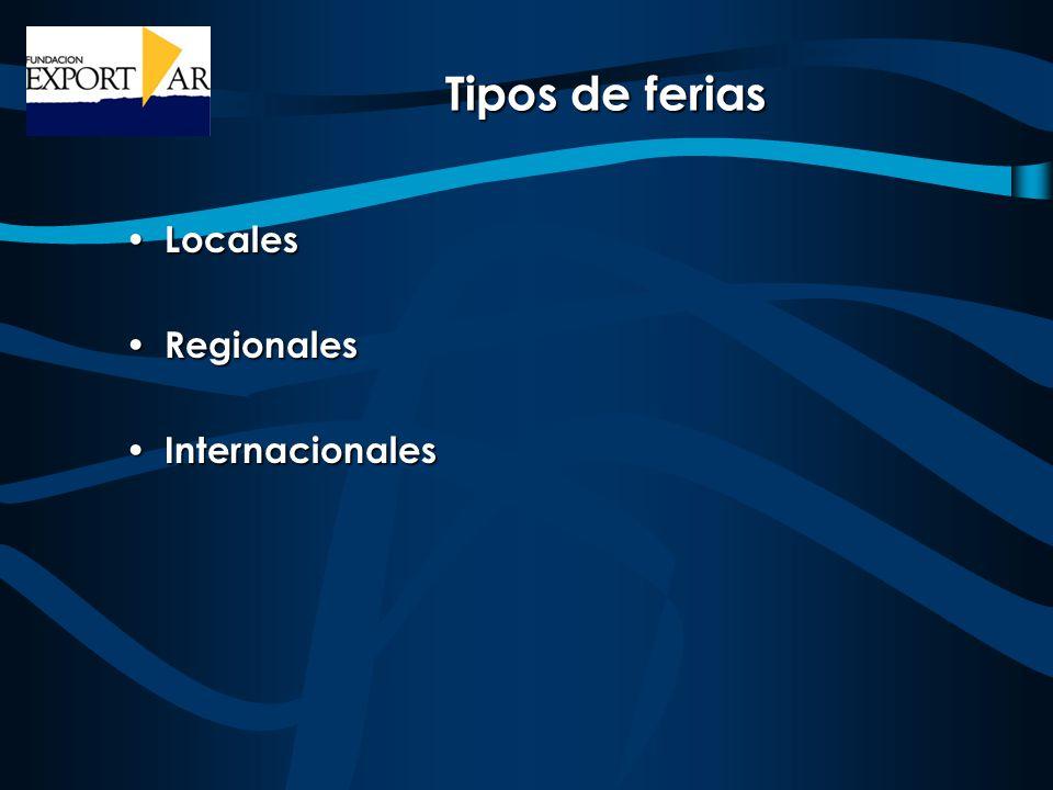 Tipos de ferias Locales Locales Regionales Regionales Internacionales Internacionales