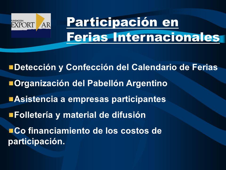 Participación en Ferias Internacionales Detección y Confección del Calendario de Ferias Organización del Pabellón Argentino Asistencia a empresas participantes Folletería y material de difusión Co financiamiento de los costos de participación.
