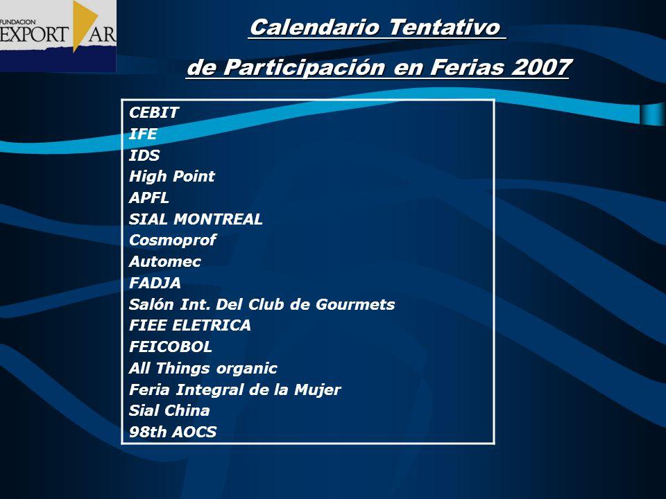 Calendario Tentativo de Participación en Ferias 2007 CEBIT IFE IDS High Point APFL SIAL MONTREAL Cosmoprof Automec FADJA Salón Int.