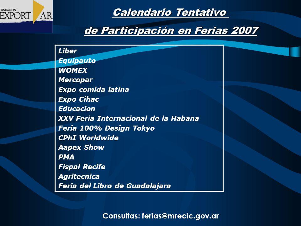 Calendario Tentativo de Participación en Ferias 2007 Liber Equipauto WOMEX Mercopar Expo comida latina Expo Cihac Educacion XXV Feria Internacional de