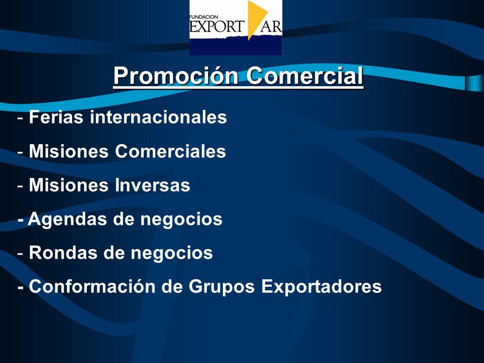 Promoción Comercial - Ferias internacionales - Misiones Comerciales - Misiones Inversas - Agendas de negocios - Rondas de negocios - Conformación de G