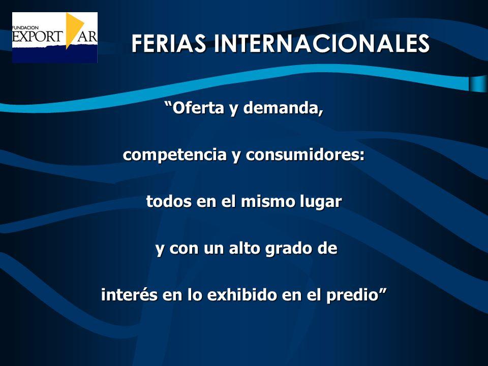 FERIAS INTERNACIONALES Oferta y demanda, competencia y consumidores: todos en el mismo lugar y con un alto grado de y con un alto grado de interés en lo exhibido en el predio