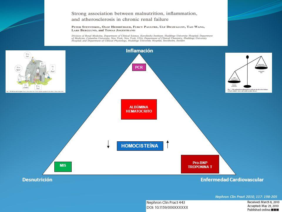 PCR MIS Pro-BNP TROPONINA T HOMOCISTEÍNA ALBÚMINA HEMATOCRITO Inflamación Desnutrición Enfermedad Cardiovascular Nephron Clin Pract 2010; 117: 198-205