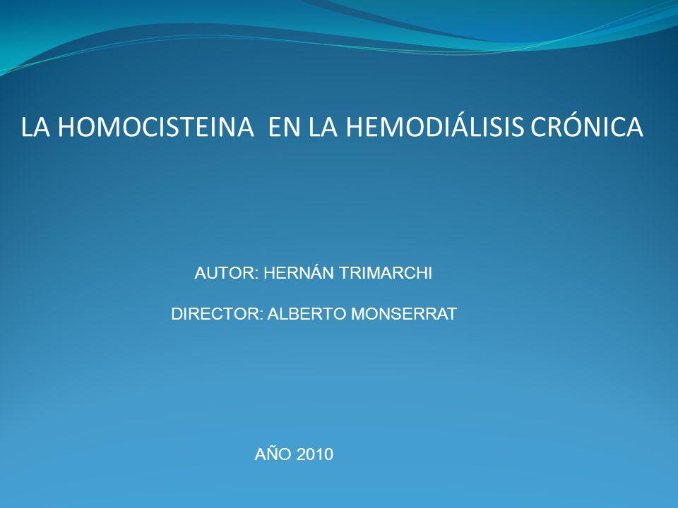 LA HOMOCISTEINA EN LA HEMODIÁLISIS CRÓNICA AUTOR: HERNÁN TRIMARCHI DIRECTOR: ALBERTO MONSERRAT AÑO 2010