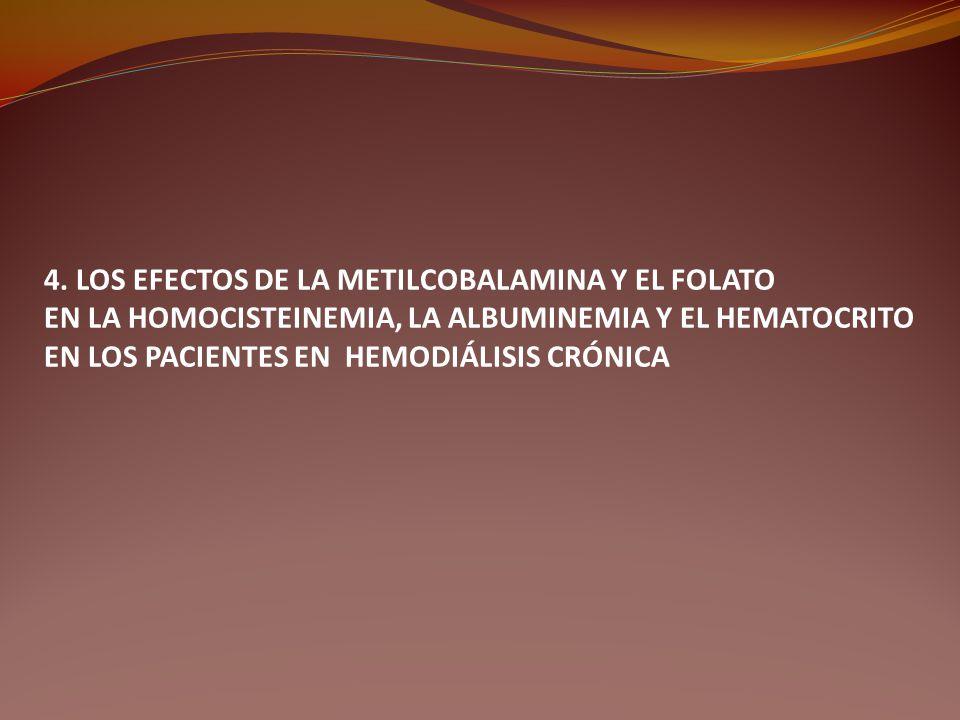 4. LOS EFECTOS DE LA METILCOBALAMINA Y EL FOLATO EN LA HOMOCISTEINEMIA, LA ALBUMINEMIA Y EL HEMATOCRITO EN LOS PACIENTES EN HEMODIÁLISIS CRÓNICA