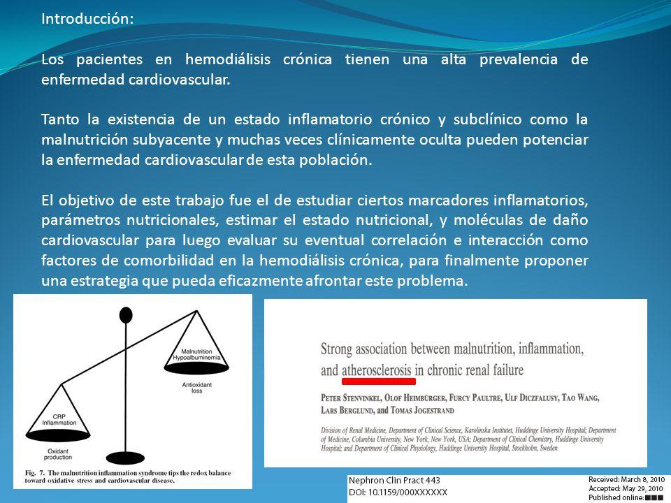Introducción: Los pacientes en hemodiálisis crónica tienen una alta prevalencia de enfermedad cardiovascular. Tanto la existencia de un estado inflama