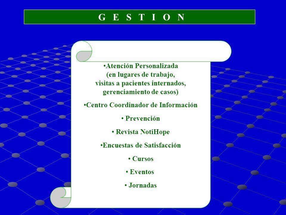 G E S T I O N Atención Personalizada (en lugares de trabajo, visitas a pacientes internados, gerenciamiento de casos) Centro Coordinador de Informació