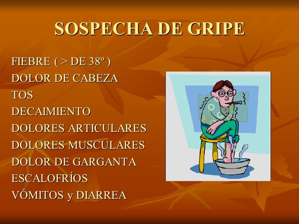 SOSPECHA DE GRIPE FIEBRE ( > DE 38º ) DOLOR DE CABEZA TOSDECAIMIENTO DOLORES ARTICULARES DOLORES MUSCULARES DOLOR DE GARGANTA ESCALOFRÍOS VÓMITOS y DIARREA