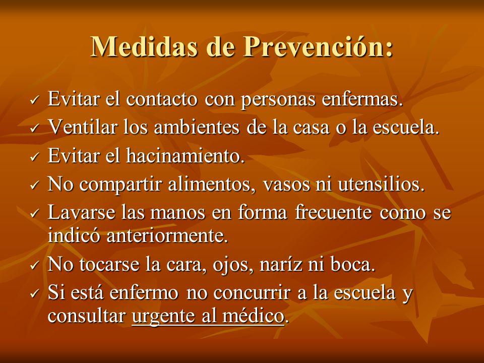 Medidas de Prevención: Evitar el contacto con personas enfermas.