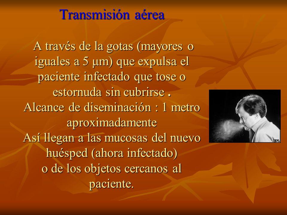 Transmisión aérea A través de la gotas (mayores o iguales a 5 μm) que expulsa el paciente infectado que tose o estornuda sin cubrirse.