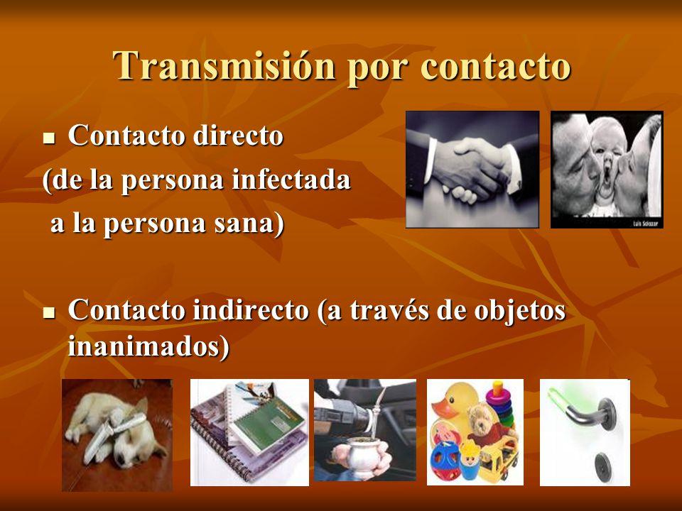 Transmisión por contacto Contacto directo Contacto directo (de la persona infectada a la persona sana) a la persona sana) Contacto indirecto (a través de objetos inanimados) Contacto indirecto (a través de objetos inanimados)