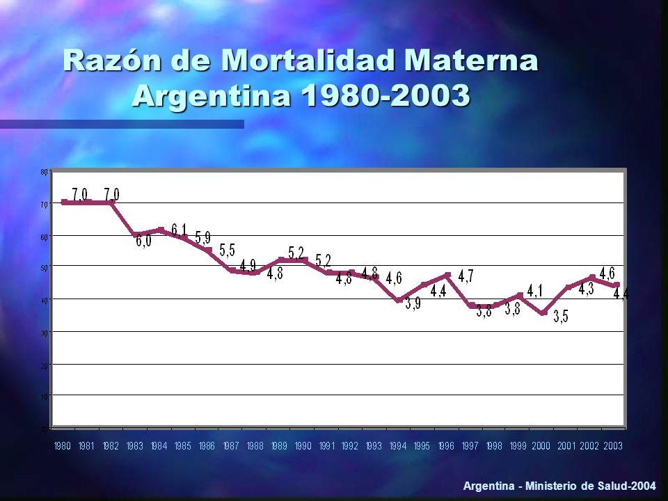 Razón de Mortalidad Materna Argentina 1980-2003 Argentina - Ministerio de Salud-2004