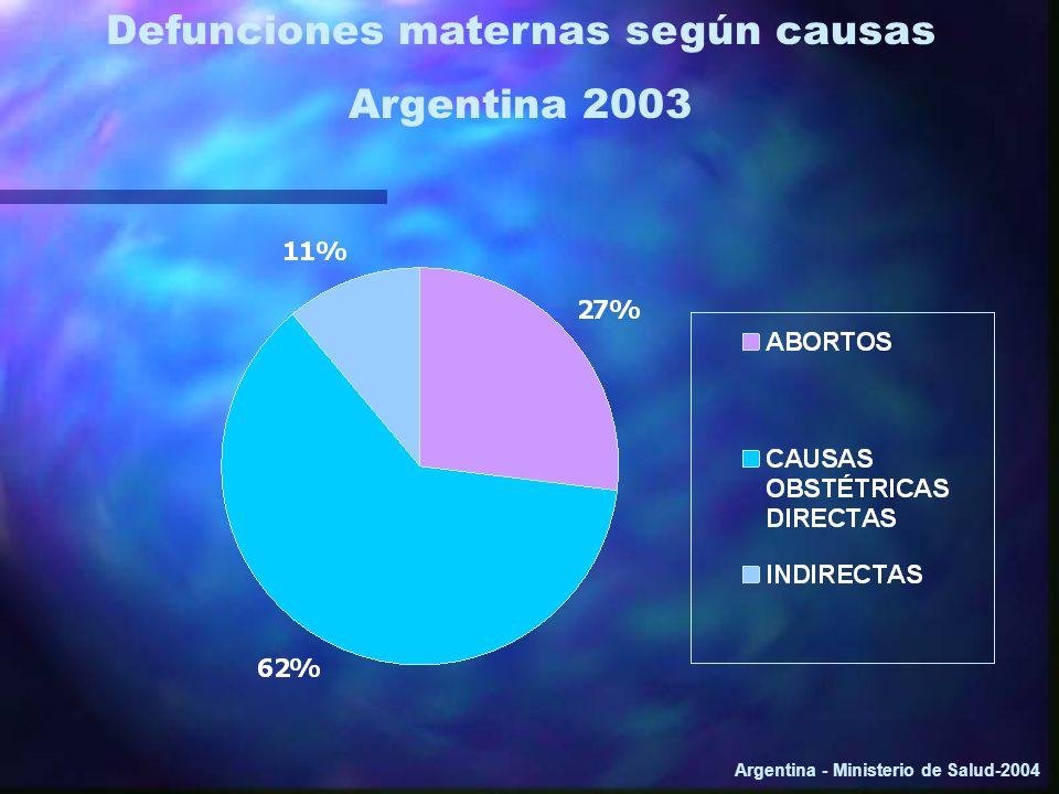 Defunciones maternas según causas Argentina 2003 Argentina - Ministerio de Salud-2004