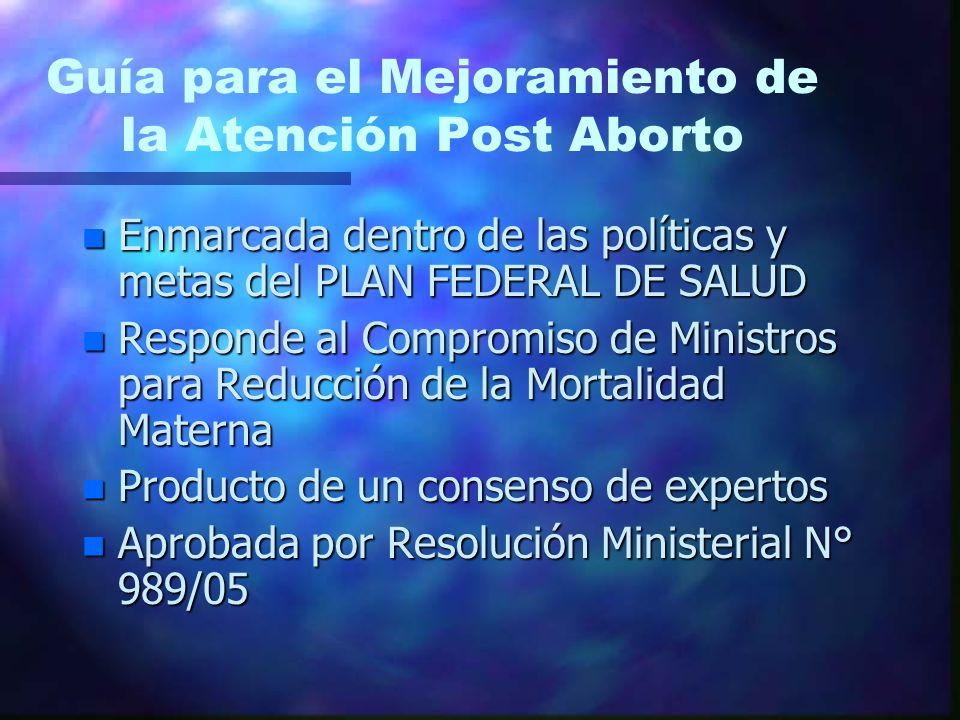 Guía para el Mejoramiento de la Atención Post Aborto n Enmarcada dentro de las políticas y metas del PLAN FEDERAL DE SALUD n Responde al Compromiso de