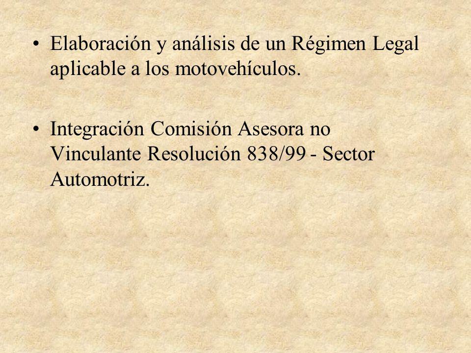 Elaboración y análisis de un Régimen Legal aplicable a los motovehículos.