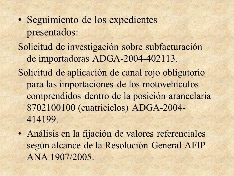 Seguimiento de los expedientes presentados: Solicitud de investigación sobre subfacturación de importadoras ADGA-2004-402113.