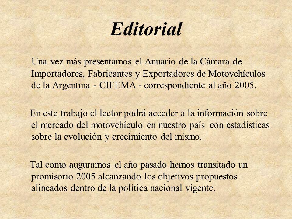Editorial Una vez más presentamos el Anuario de la Cámara de Importadores, Fabricantes y Exportadores de Motovehículos de la Argentina - CIFEMA - correspondiente al año 2005.